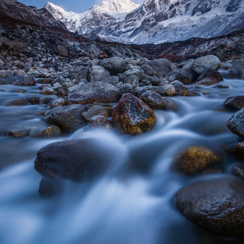 Long exposure of Kabru South and Rathong River at dawn