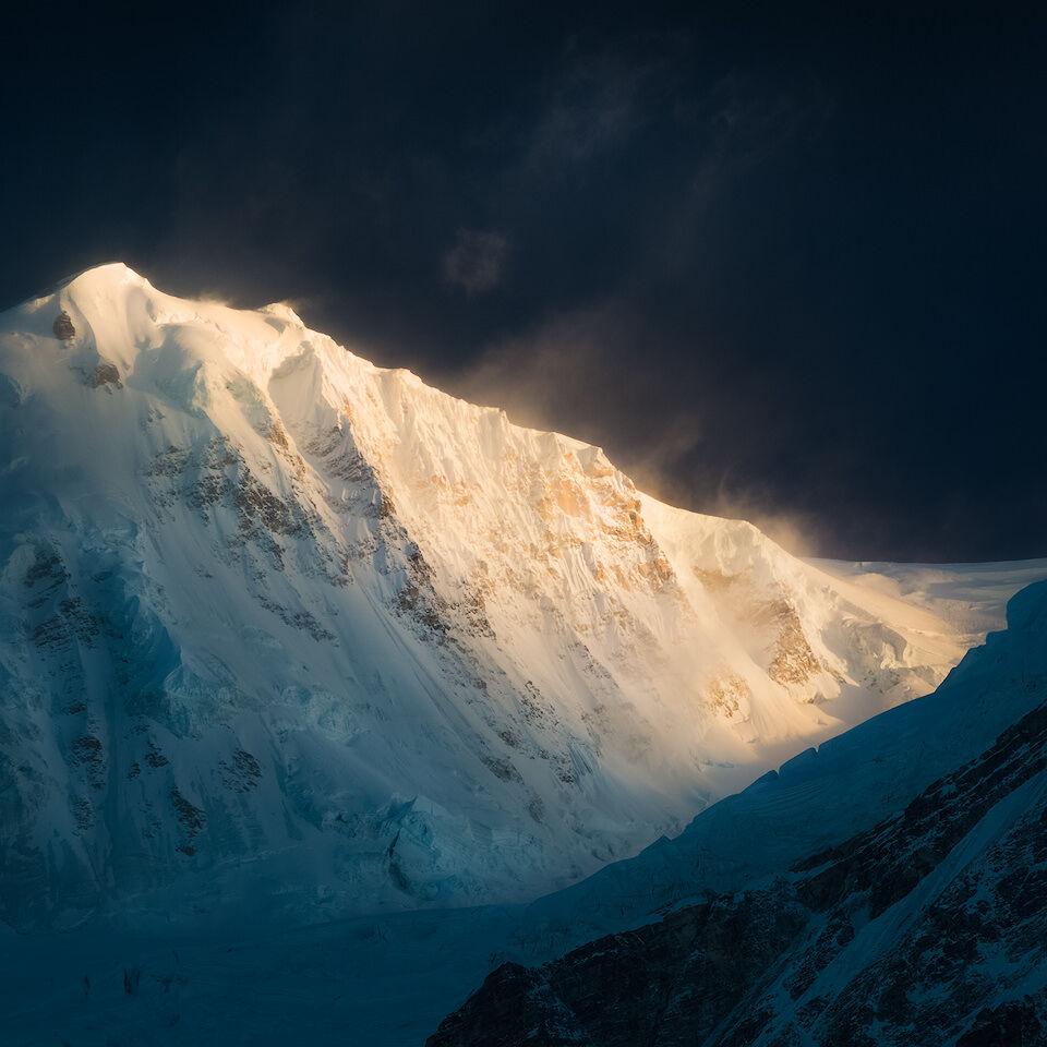 Warm sunrise light on Kabru South in Khangchendzonga National Park