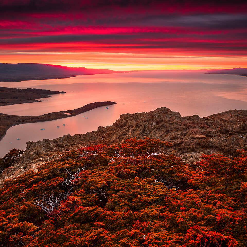 Lago Viedma at sunrise.