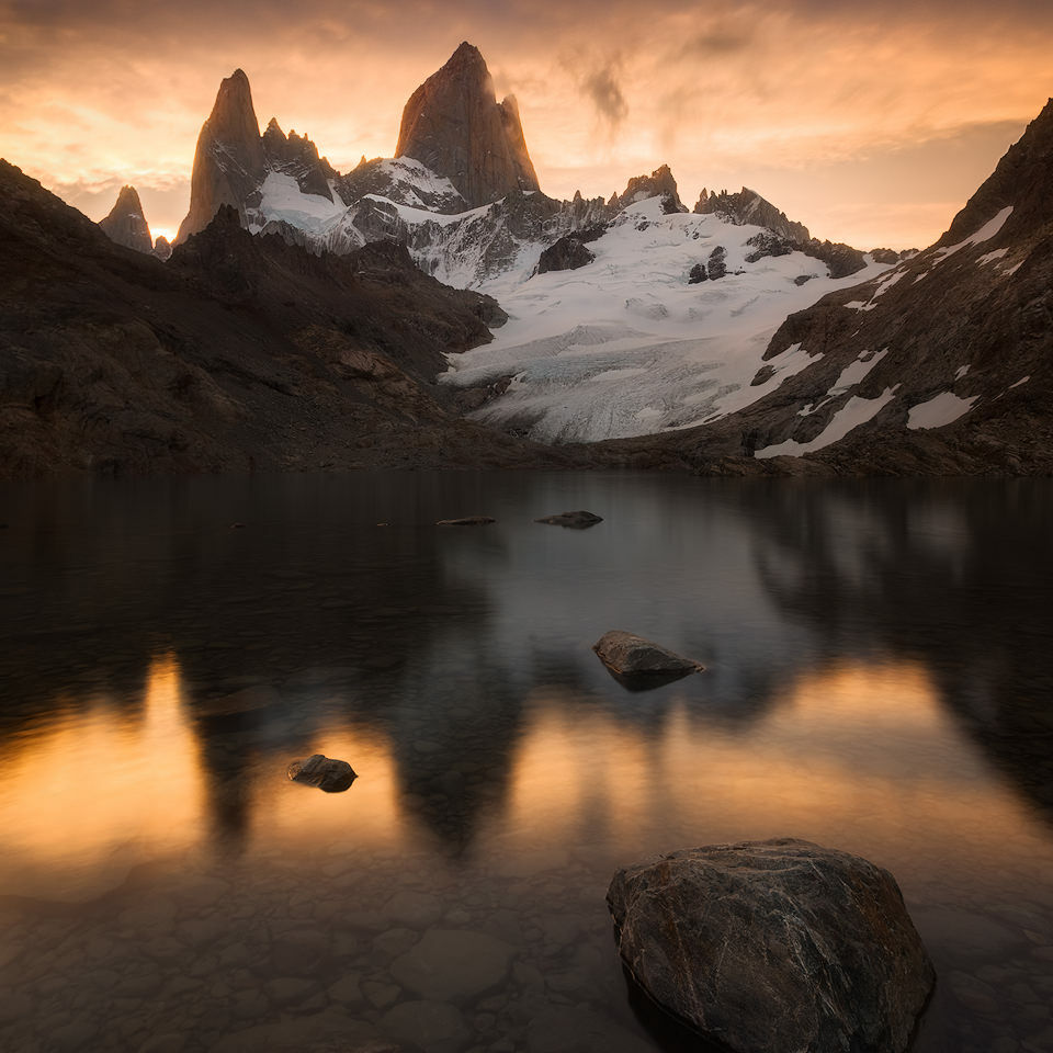 Fitz Roy reflection at sunset.